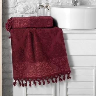 Полотенце для ванной Karna OTTOMAN хлопковая махра бордовый