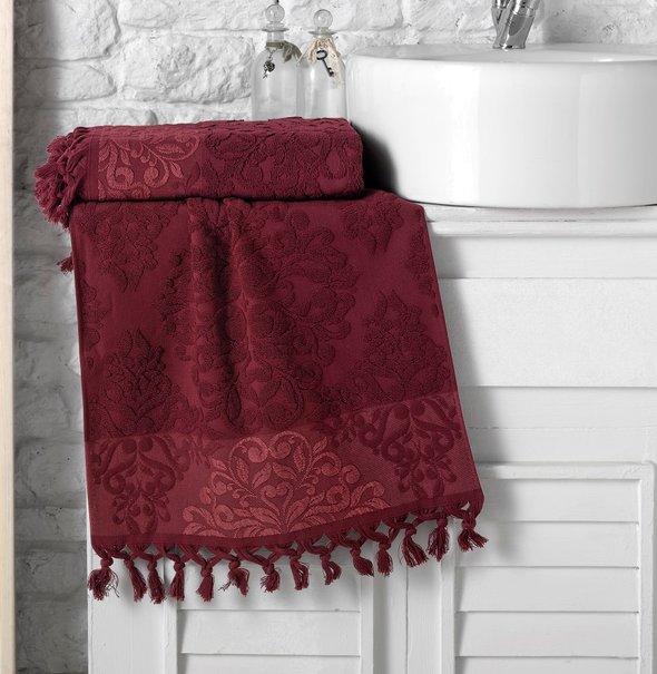 Полотенце для ванной Karna OTTOMAN хлопковая махра бордовый 50*90, фото, фотография