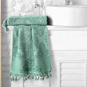Полотенце для ванной Karna OTTOMAN хлопковая махра зелёный 50х90