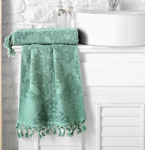 Полотенце для ванной Karna OTTOMAN хлопковая махра зелёный 50х90, фото, фотография