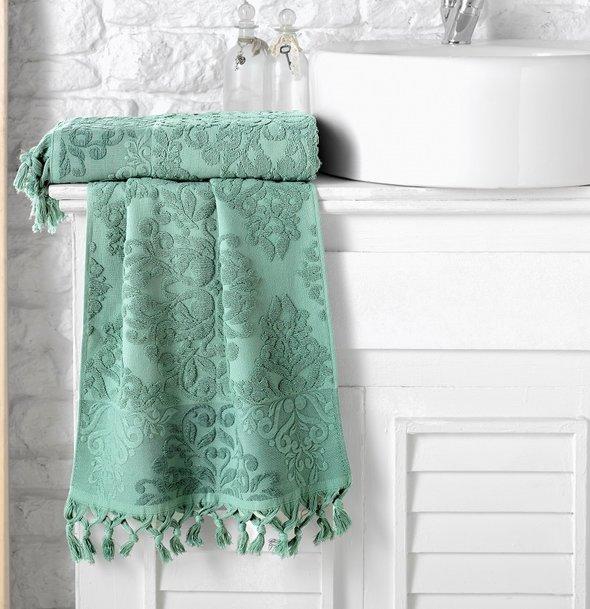 Полотенце для ванной Karna OTTOMAN хлопковая махра зелёный 50*90, фото, фотография