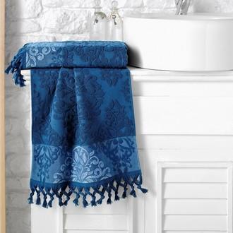 Полотенце для ванной Karna OTTOMAN хлопковая махра синий