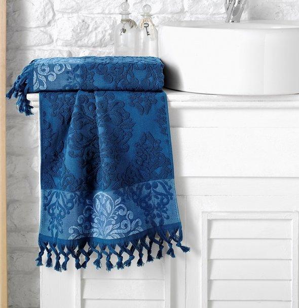 Полотенце для ванной Karna OTTOMAN хлопковая махра синий 50*90, фото, фотография
