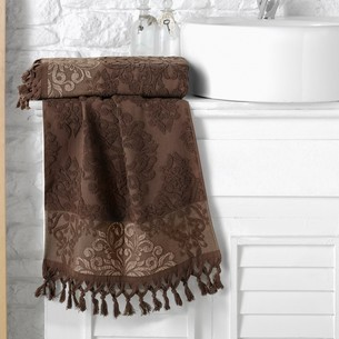Полотенце для ванной Karna OTTOMAN хлопковая махра тёмно-коричневый 70х140