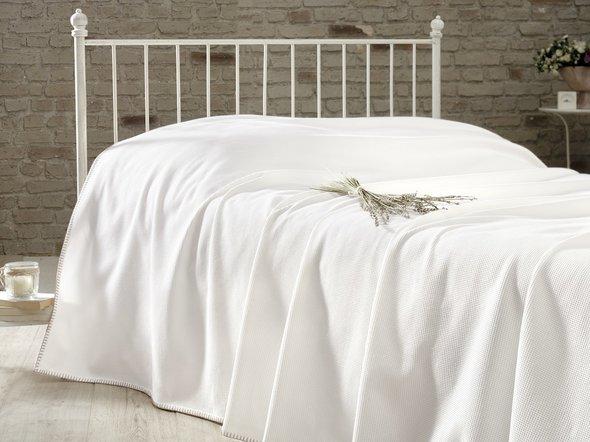 Вафельная простыня-покрывало для укрывания (пике) Karna RAINBOW хлопок (кремовый) 200*230, фото, фотография