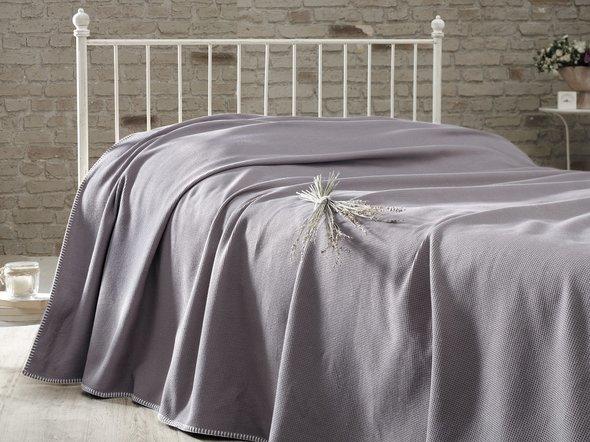 Вафельная простыня-покрывало для укрывания (пике) Karna RAINBOW хлопок (тёмно-коричневый) 200*230, фото, фотография