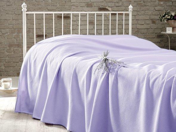 Вафельная простыня-покрывало для укрывания (пике) Karna RAINBOW хлопок (светло-сиреневый) 200*230, фото, фотография