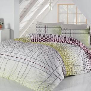 Постельное белье Altinbasak SAYE хлопковый ранфорс зелёный 1,5 спальный