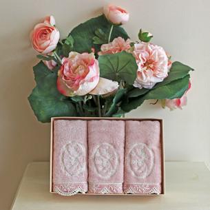 Набор полотенец для ванной в подарочной упаковке 32х50 3 шт. Soft Cotton BUKET хлопковая махра тёмно-розовый