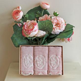 Набор полотенец для ванной в подарочной упаковке 32*50(3) Soft Cotton BUKET хлопковая махра (тёмно-розовый)