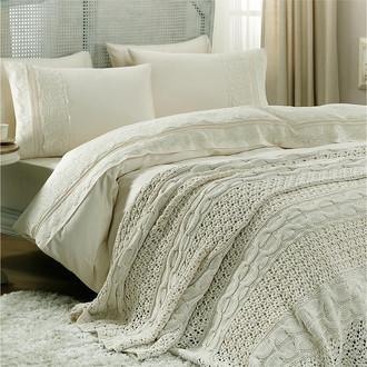 Комплект постельного белья с пледом-покрывалом Gelin Home SELIN хлопковый сатин делюкс (шампань)