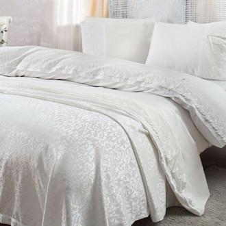 Комплект постельного белья с покрывалом Gelin Home CAROLINE хлопковый сатин делюкс (кремовый)