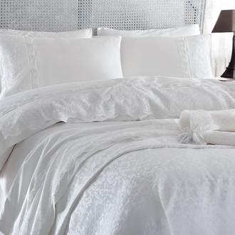 Комплект постельного белья с покрывалом Gelin Home CHARLOTTE хлопковый сатин делюкс (кремовый)