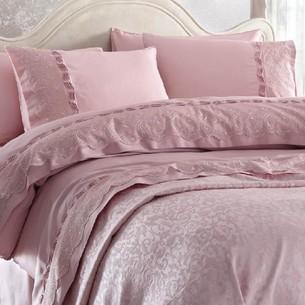 Постельное белье с покрывалом Gelin Home CHARLOTTE хлопковый сатин делюкс тёмно-розовый евро