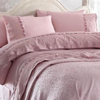 Комплект постельного белья с покрывалом Gelin Home CHARLOTTE хлопковый сатин делюкс (тёмно-розовый)