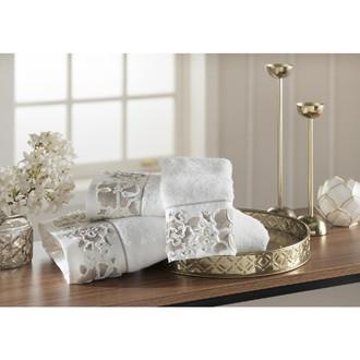 Подарочный набор полотенец для ванной 3 пр. Tivolyo Home CORDELIA хлопковая махра (бежевый)