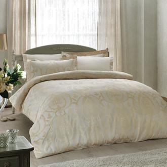 Комплект постельного белья Tivolyo Home NOBILE хлопковый сатин-жаккард (кремовый)