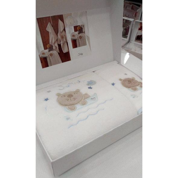 Подарочный набор детских полотенец Tivolyo Home FISHY хлопковая махра 50*90, 70*130 (голубой), фото, фотография