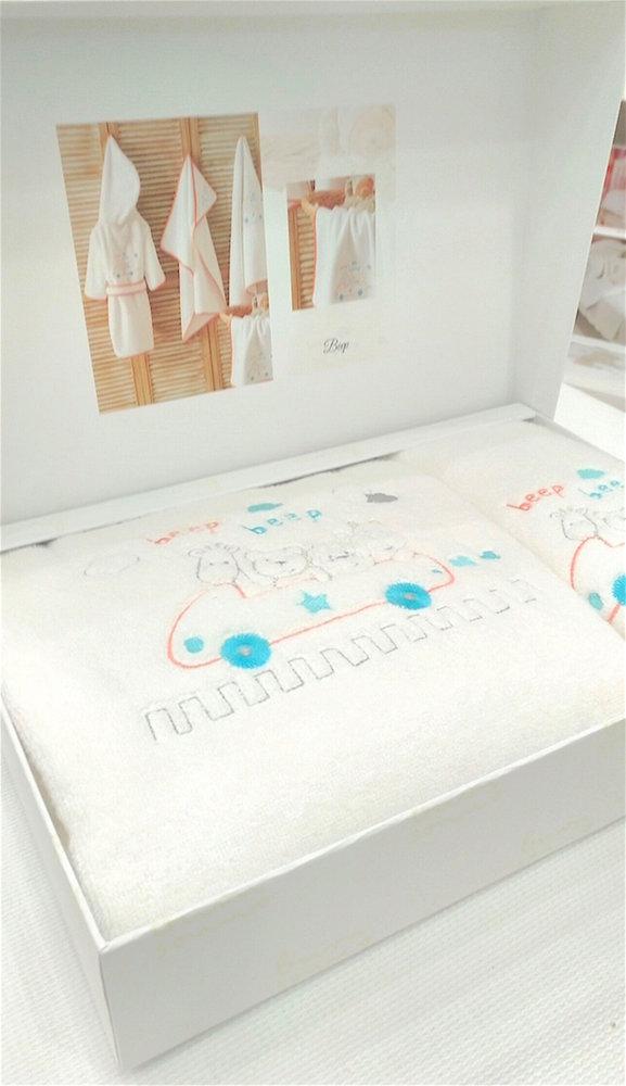 Подарочный набор детских полотенец Tivolyo Home BEEP хлопковая махра 50*90, 70*130, фото, фотография