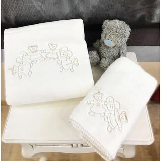 Подарочный набор детских полотенец Tivolyo Home FAMILY хлопковая махра 50*90, 70*130 (бежевый)