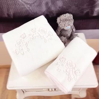 Подарочный набор детских полотенец Tivolyo Home FAMILY хлопковая махра 50*90, 70*130 (розовый)