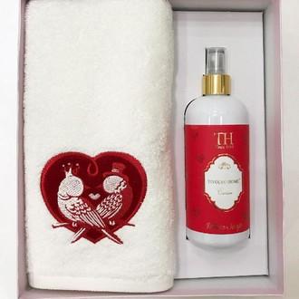 Полотенце для ванной и ароматический спрей Tivolyo Home LOVE BIRDS хлопковая махра