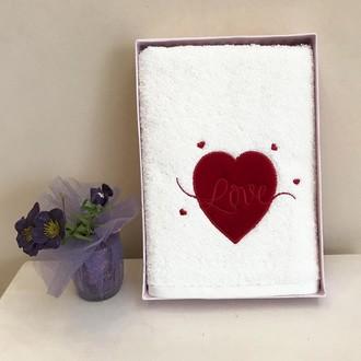 Полотенце для ванной Tivolyo Home RED LOVE хлопковая махра