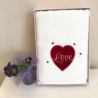Полотенце для ванной Tivolyo Home WHITE LOVE хлопковая махра