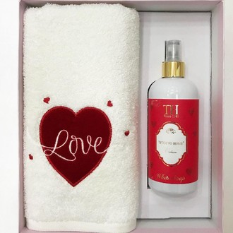 Полотенце для ванной и ароматический спрей Tivolyo Home WHITE LOVE хлопковая махра