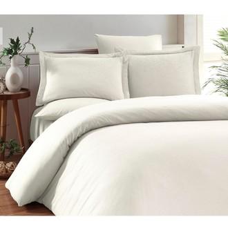 Комплект постельного белья Karna RUYA бамбуково-хлопковый сатин (экрю)