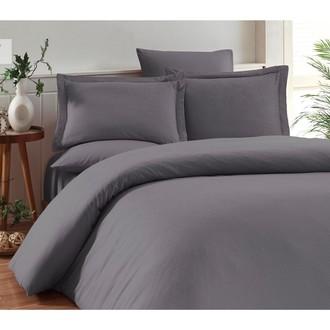 Комплект постельного белья Karna RUYA бамбуково-хлопковый сатин (серый)