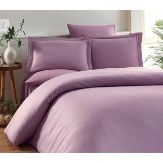 Комплект постельного белья Karna RUYA бамбуково-хлопковый сатин (светло-лавандовый)