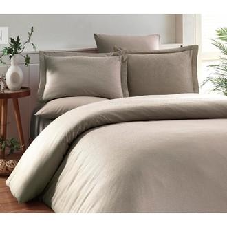Комплект постельного белья Karna RUYA бамбуково-хлопковый сатин (визон)