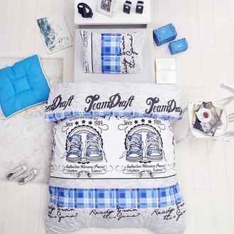 Постельное белье подростковый Altinbasak MOLLY хлопковый ранфорс голубой