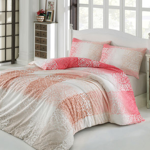 Постельное белье Altinbasak ELFIN хлопковый ранфорс розовый евро
