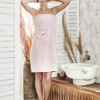 Набор для сауны женский Karna PARIS хлопковая махра грязно-розовый