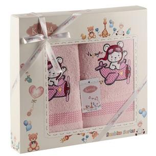 Набор полотенец детских Karna BAMBINO-SAMALOT хлопковая махра розовый