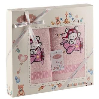 Набор полотенец детских Karna BAMBINO-SAMALOT хлопковая махра (розовый)