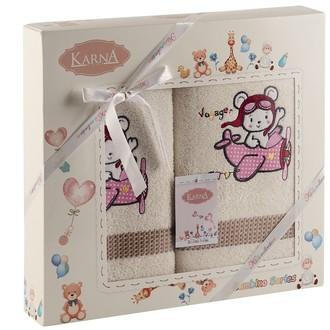 Набор полотенец детских Karna BAMBINO-SAMALOT хлопковая махра (молочный)