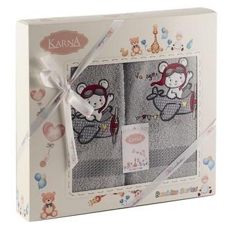 Набор полотенец детских Karna BAMBINO-SAMALOT хлопковая махра серый