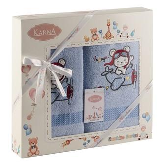 Набор полотенец детских Karna BAMBINO-SAMALOT хлопковая махра голубой