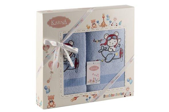 Набор полотенец детских Karna BAMBINO-SAMALOT хлопковая махра (голубой), фото, фотография