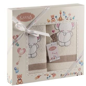 Набор полотенец детских Karna BAMBINO-SLON хлопковая махра молочный