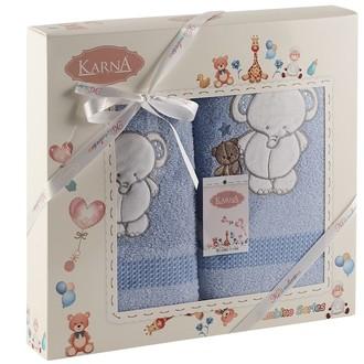 Набор полотенец детских Karna BAMBINO-SLON хлопковая махра (голубой)