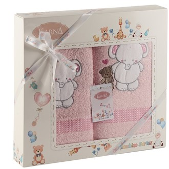 Набор полотенец детских Karna BAMBINO-SLON хлопковая махра (розовый)