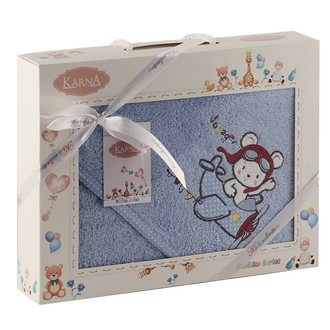 Полотенце-конверт для новорожденных Karna BAMBINO-SAMALOT хлопковая махра голубой