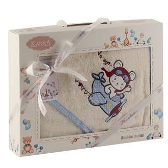 Полотенце-конверт для новорожденных Karna BAMBINO-SAMALOT хлопковая махра кремовый