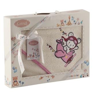 Полотенце-конверт для новорожденных Karna BAMBINO-SAMALOT хлопковая махра молочный