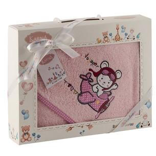 Полотенце-конверт для новорожденных Karna BAMBINO-SAMALOT хлопковая махра розовый