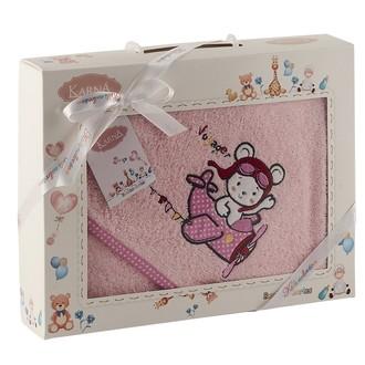 Полотенце-конверт для новорожденных Karna BAMBINO-SAMALOT хлопковая махра (розовый)